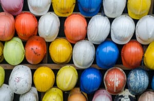 Different colored hard hats
